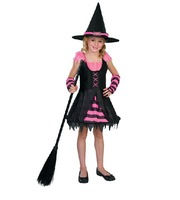 Halloween witch Costume 3pcs (dress+hat+glove)for Girl Children lace Costumes  for Kids Costume Dress