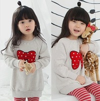In stock!Children's autumn clothes long sleeve tee thicken girl's hoddies/pullover red bow print kid's sweet shirt free shipping