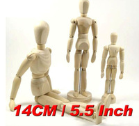 Bestselling Factory Price 14cm Flexible Schima Human Wooden Puppet Model Figure Free Shipping