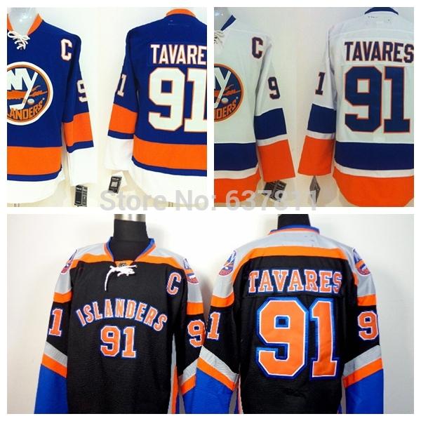 Cheap Men's New York Islanders Hockey Jerseys #91 John Tavares Jersey Team Color Home Royal Blue Authentic Stitched Jersey(China (Mainland))