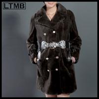 LTMB4233  Fashion rex rabbit fur coat turn down collar full sleeve regular length winter fur coat 2014