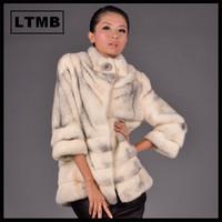Women cross mink fur coat  three quarter sleeve mandarin collar fashion white fur  for ladies 2014
