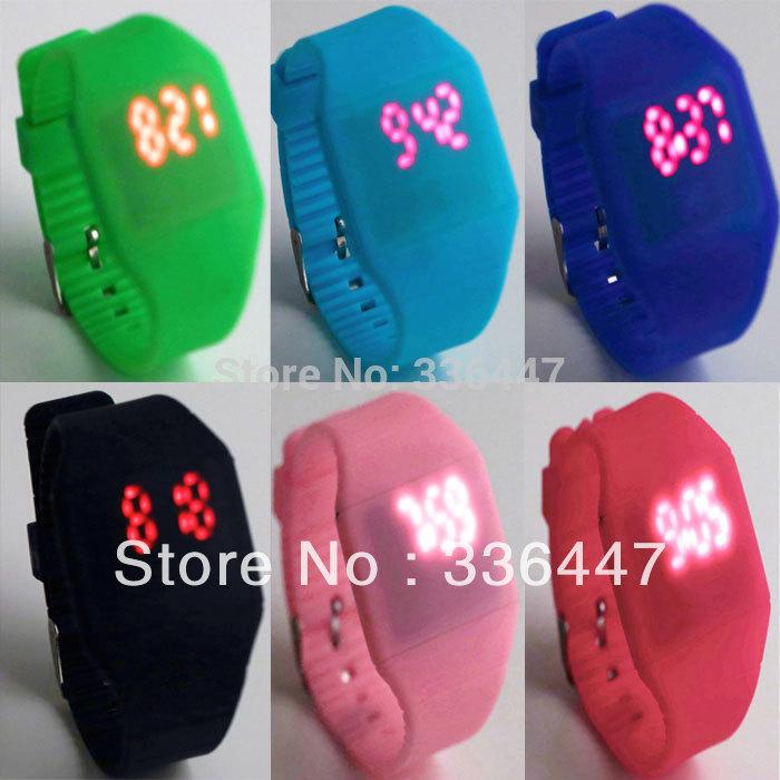 1Pcs Jelly Watch Unisex LED Digital Touch Screen Wristwatch Silicone sport ultra-thin Newest(China (Mainland))