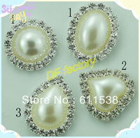 rhinestone pearl embellishment for handmade flower,flower center buttons ,crystal embellishment for ribbon bow  (MOQ:100/lot