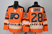 Hombres Jerseys Philadelphia Flyers Hockey # 28 Claude Giroux Jersey Naranja auténtico cosido Jersey 2012 Winter Classic Jerseys(China (Mainland))