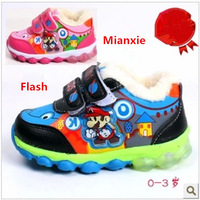 Winter Super Mario Velcro Warm children boots shoes kids Sneakers sports Boys and girls Baby  flash