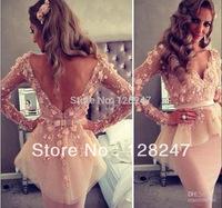 CDM-0045 2015 Popular Fall Sexy V-Neck Long Sleeve Lace Arabic Design Mini vestidos cocktail dresses 2014