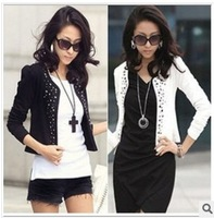 Factory price Autumn 2013 women's slim long-sleeve coat ,new Shrug Suits small Jacket Fashion Cool Women's Rivet Coat