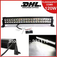 Free Shipping 24Inch 120W Led Light Bar Flood Spot Combo Work Lights  SUV Track Bus Work Lamp Spot Flood Combo Beam
