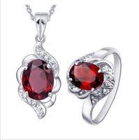 Jewelry sets,garnet  gems pendants,rings,earrings,sterling silver 925,wedding gift,SP0459G SR0504G