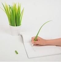 Novel 10pcs/ lot South Korean creative  ballpoint pen Pooleaf cute stationery Grass-blade pen  fresh environmental free shipping