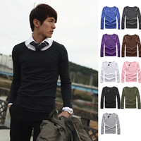 100% Cotton  2013 Fall Mens 's long-sleeved T-shirt, the Slim Stretch Men bottoming shirt fashion Casual cotton T Shirts