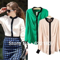 Stand Collar Formal Women Chiffon Blouse Patchwort Drape Full Sleevel Shirt Tops Green Beige S-XL 16146