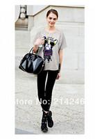 Women'snew cartoon printing  T-SHIRT round collar short sleeve cotton T-shirt loose t-shirts zasa fashion