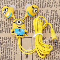 Hot style Despicable Me The Minion Style 3.5mm Universal Earphone for Various Cellphones  - Best gift for your kids
