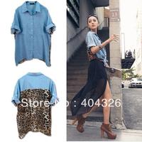Leopard Print BlouseTop Womens Sexy Button Shirt Chiffon Jean Retro Denim Loose Size  Free shipping