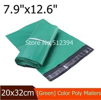 "Wholesale green color poly mailer bags 100pcs Courier bag 20x32cm(7.9""x12.6"")  plastic sealing adhesive shipping envelopes bags"