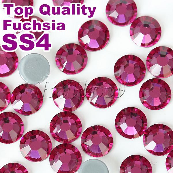 China Best Quality! Hot Fix Rhinestone Top Hotfix Stone SS4 1.4-1.6mm Fuchsia10gross/bag Fashion DIY Garment Cloths Bags B0670(China (Mainland))