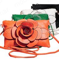 Hot New Fashion Big Flower Faux PU Leather Clutch Sling Shoulder Bags Handbag Casual Zip Purse bag 4 Colors B364 free shipping