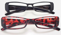 2013 fashion unisex plastic black reading glasses with wide ARM