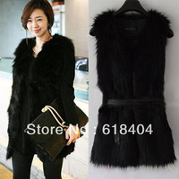free shipping NEW Womens Winter Fashion Black Warm Faux Fur Long Vest Jacket Coat Waistcoat WC707