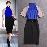 Free shipping wholesale 2013 autumn women's fashion color block patchwork false collar slim one-piece dress full dress