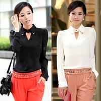 New Fashion Women Girl Regular OL Lapel Long Sleeve Chiffon Shirt Tops Blouse White&Black 18714