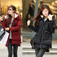 Fashion Design Warmness Thickening Women Winter Coats  Medium-long Plus size Outerwear Women Wadded Jacket Hooded Zipper Coat