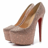 16cm crystal wedding shoes for woman red bottoms high heels rhinestone high heel shoes platform pumps big size 35-42