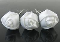 10pcs Mini White Rose Hair Pins Wedding Bridal Ribbon Fabric Rose Hair Pins Free Shipping