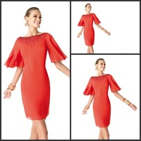 2014 New Design Free Shipping Custom Made Beaded Chiffon Mini Short Evening Dress With Sleeve