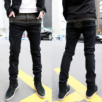 2014 men's clothing distrressed slim denim skinny pants color block decoration trousers water wash male long jeans men