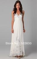 Free Shipping White A-line Floor-length V-neckr Long Evening Dress 2014