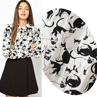 Fashion black,white different cats animal print rivet lady shirt long sleeve slim women casual blouse