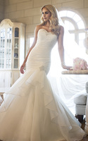 TWD75 Corset Back Organza Mermaid Wedding Dress 2014