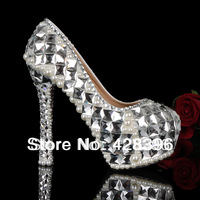 2014 New 8-16CM classic prom heels wedding shoe women genuine leather crystal high heel shoes platforms silver rhinestone pumps
