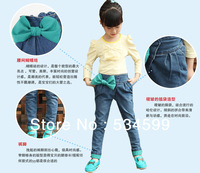 2013 sprint autumn new design girls pants green color bow front jeans brand quality kid wear wholesale retail girls pants jeans