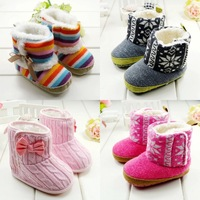 Free shipping Winter beautiful rainbow boots keep warm girls snow shoes soft plush baby toddlers boots E104