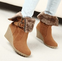 Nov-Euramerican style woman boots/pumps ladies/females fur warm short boots/high heeled shoes/footwear freeshipping two wearings