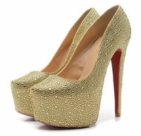 New brand fashion designer ladies crystal wedding shoes sexy rhinestone woman platforms pumps red bottom high heels for women