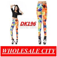 WHOLESALE Fashion Leggings Orange Jellyfish Printed Skinny Jeans Galaxy Super Elastic Fitness Leggings For Women DK196