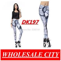 WHOLESALE Casual Women Leggings Sexy Fitness Skinny jeans With Parching Earth  printing Super Elastic Black Milk Leggings DK197