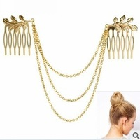 Min Order $10(Mix Order) H024  Free Shipping,New Arrival Punk Style Cute Alloy Leaf Tassels Comb,Party Jewelry