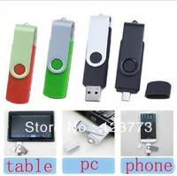 Swivel Smart Phone USB Flash Drives pen drives OTG external storage micro usb 2.0 memory stick free shiping