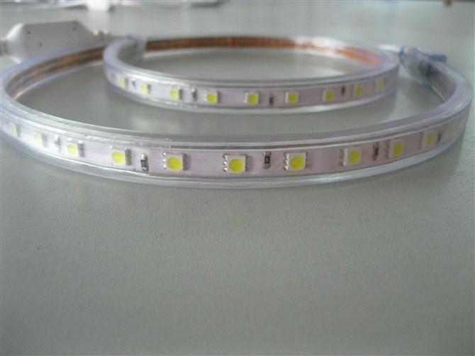 high power led strip 110v AC led light 50m/reel warm white color outdoor lighting led SMD5050 light strip(China (Mainland))