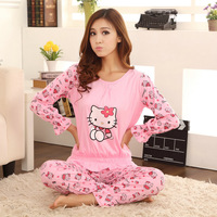 Free shipping hot sale 100% cotton hello kitty long sleeve pajamas sleepwear for women girls wholesale price good quality 1 pcs