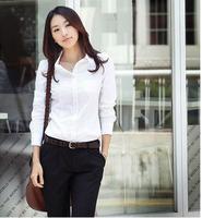 New arrival female Shirt  white female long-sleeve basic women's work wear,slim bussiness suit, Hot sale, Free shipping