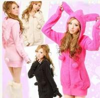 2014 New Fashion Spring Women Jackets Coats/Brand Rabbit Ears Hooded Jackets For Women/Casual Sweet Women Clothing