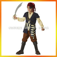 Free shipping!3sizes!children carnival party cosplay pirate costume boy kids pirate costume AECC-3873