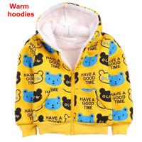 Winter children hoodies boys and girls long sleeve cartoon bear zipper jacket coat  kids thick fleece warm sweatshirt outerwear